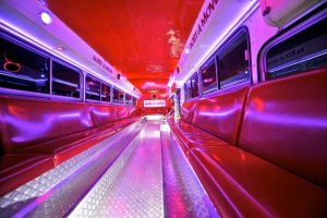Red  Party bus interior photo